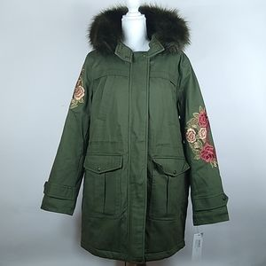 Kensie Women's Embroidered Hooded Anorak Olive Large